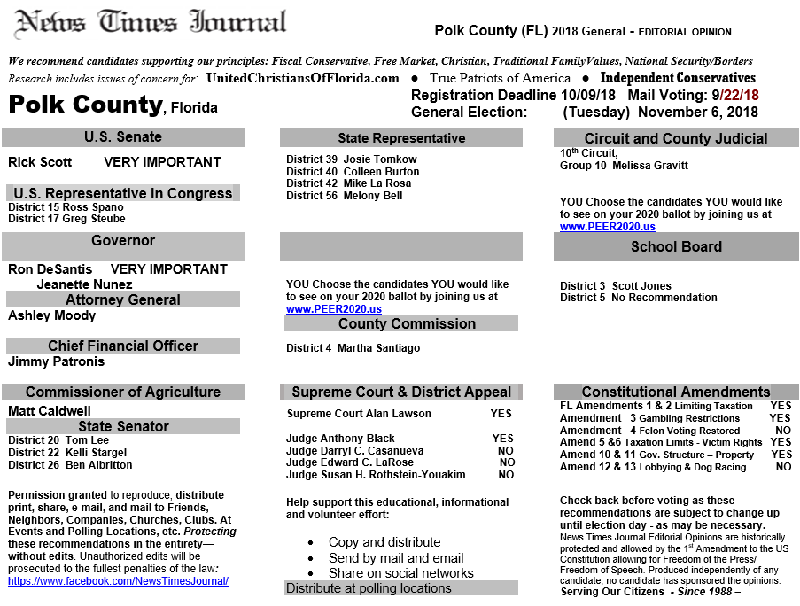 Polk Election Recommendations