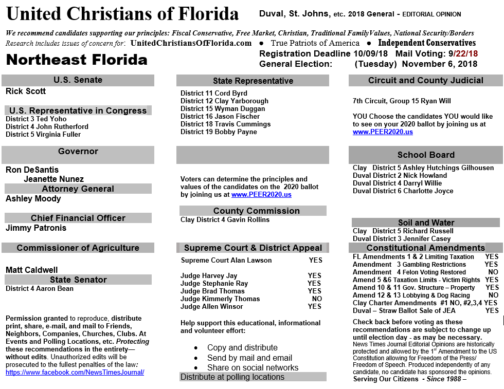 Northeast Florida Voting Recommendations